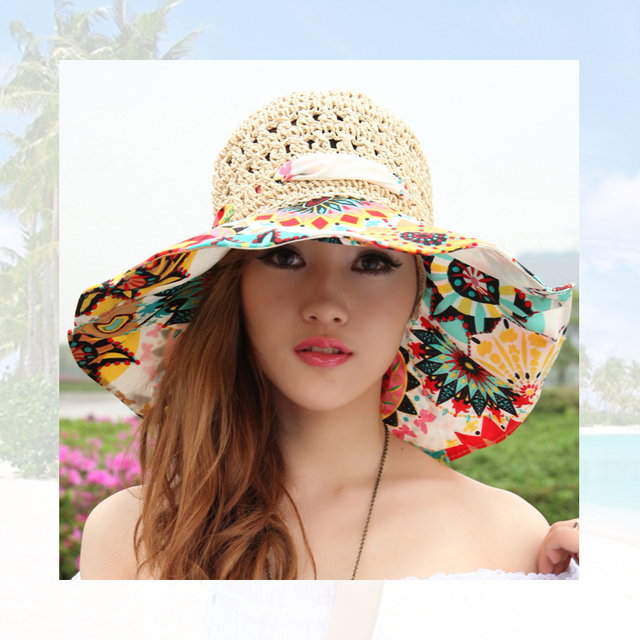 d94ea869d55 Mingjiebihuo new fashion Korean summer sun hat female big beach hat flowers  women girls straw hat