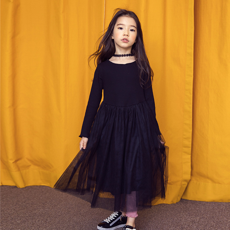 Black Big Girl Lace Dress Tutu Dresses Children Kids Girls Thick Warm Autumn Spring Winter Clothing Princess Dress For Party