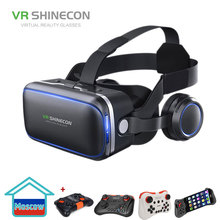 VR SHINECON G04E 3D VR Glasses Headset with earphones for 4.7-6.0 inches Android iOS Smart Phones
