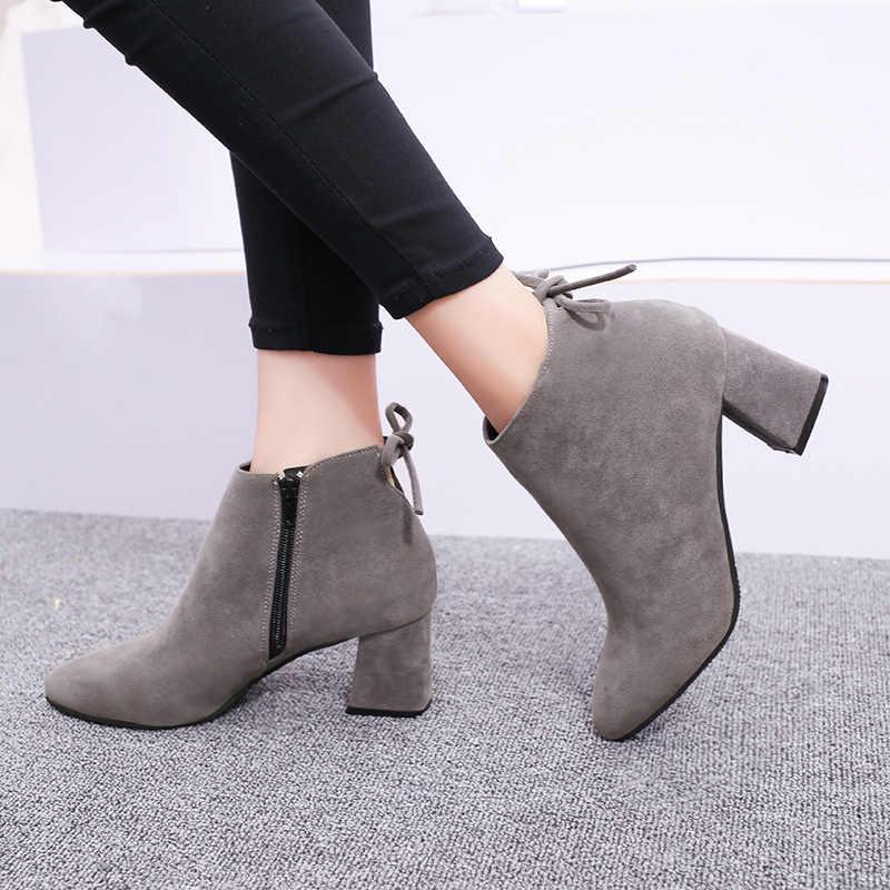 MCCKLE/женские ботильоны; сезон весна; короткие ботинки из искусственной замши на высоком каблуке; обувь на толстом каблуке на молнии; женская повседневная обувь