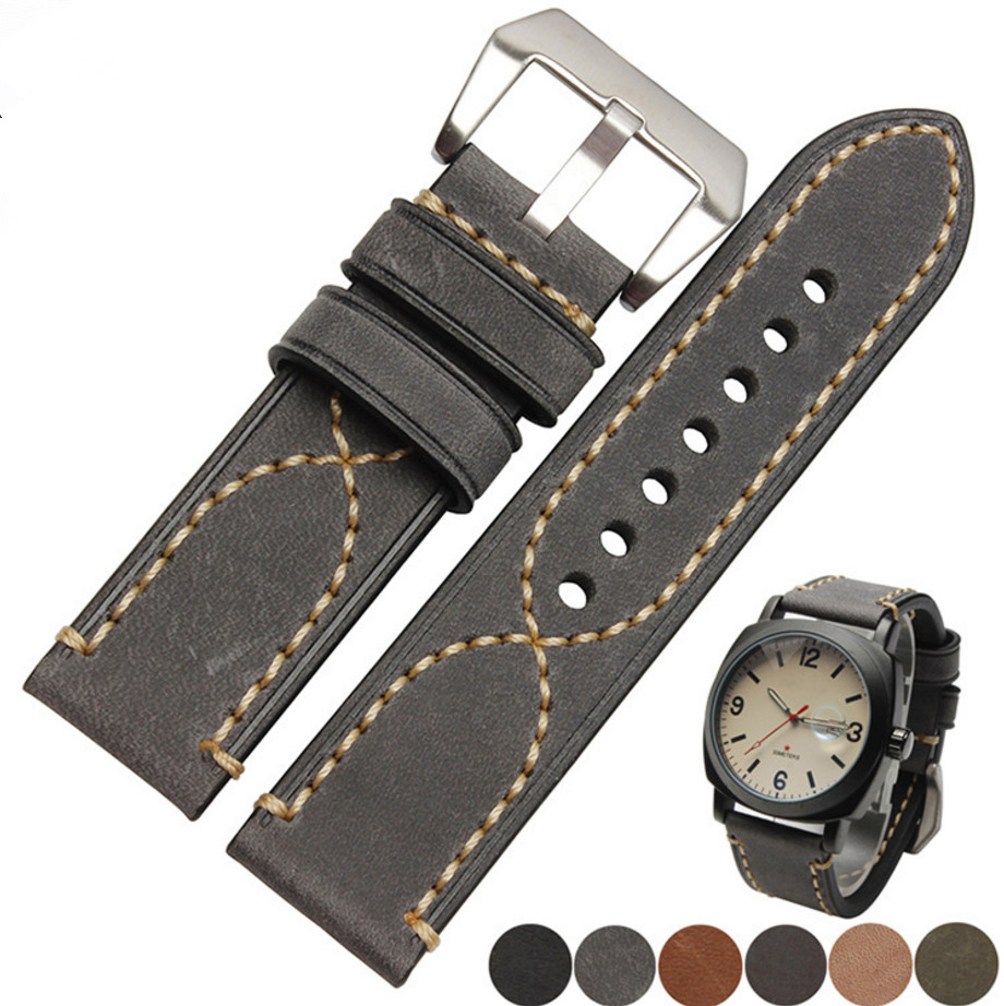 20 22 24 26mm Black Gray Green Dark Light Brown <font><b>Watch</b></font> Band Genuine Leather Thick For Tag CARRERA Omega Montblanc Panerai Daytona image