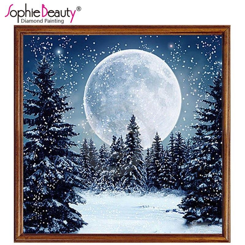3d Diamante Diy Diamante Mosaico Perline Ricamo Celeste Neve Luna Donna Sogno Punto Croce Pittura A Olio Intarsio Lavoro Manuale
