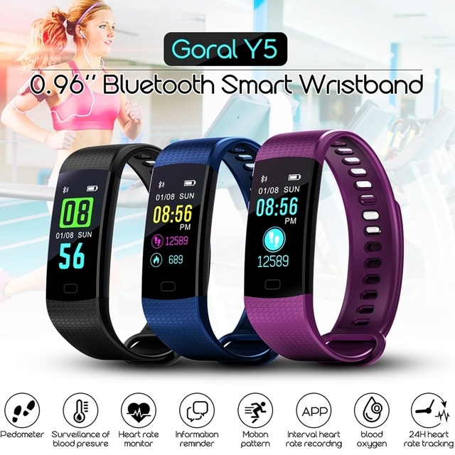 US $15 57 15% OFF|Y5 Smart Wristband Electronics Bracelet Color LCD Watch  Activity APP Fitness Tracker Blood Pressure Heart Rate IP67 Waterproof-in