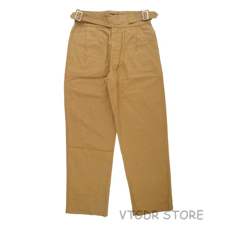 Vintage Gurkha Pants UK Army Bermuda Men's Casual Trousers Khaki Loose Fit Pants