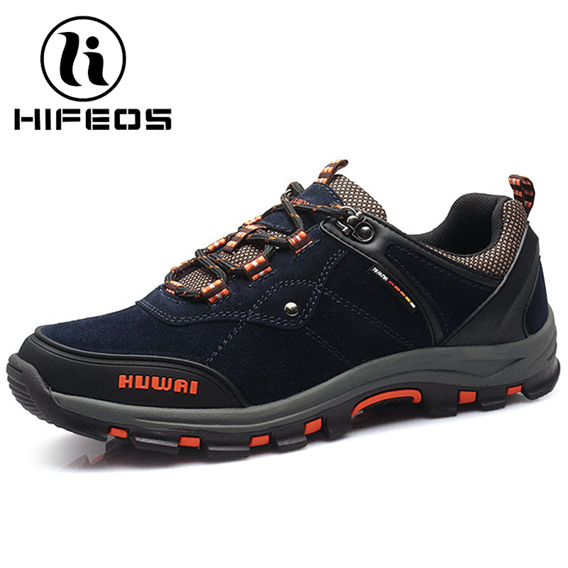HIFEOS hiking men outdoor waterproof sneakers breathable trekking shoes climing boots low top anti-slip suede comfortable M055 winter men s anti slip warm outdoor high top hiking sports boots fur shoes men army wearable climbing sneakers shoes camping