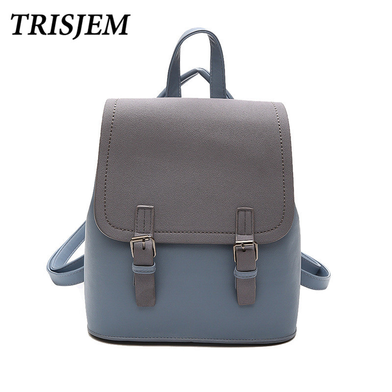 TRISJEM Brand Women Backpacks Fashion Small Panelled School Bags for Girls Black Scrub PU Leather Female Backpack Sac a Dos 2018
