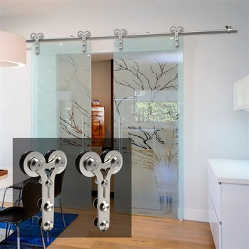 LWZH 10-16FT Y-Shaped Silver Modern Stainless Steel Puerta Corredera Wooden and Glass Sliding Door Hardware Kit for Double Door