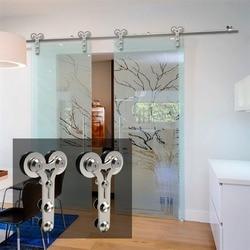 LWZH Kit de quincaillerie pour porte coulissante   Acier inoxydable moderne en forme de Y 10-16FT Puerta Corredera en bois et verre pour Double porte