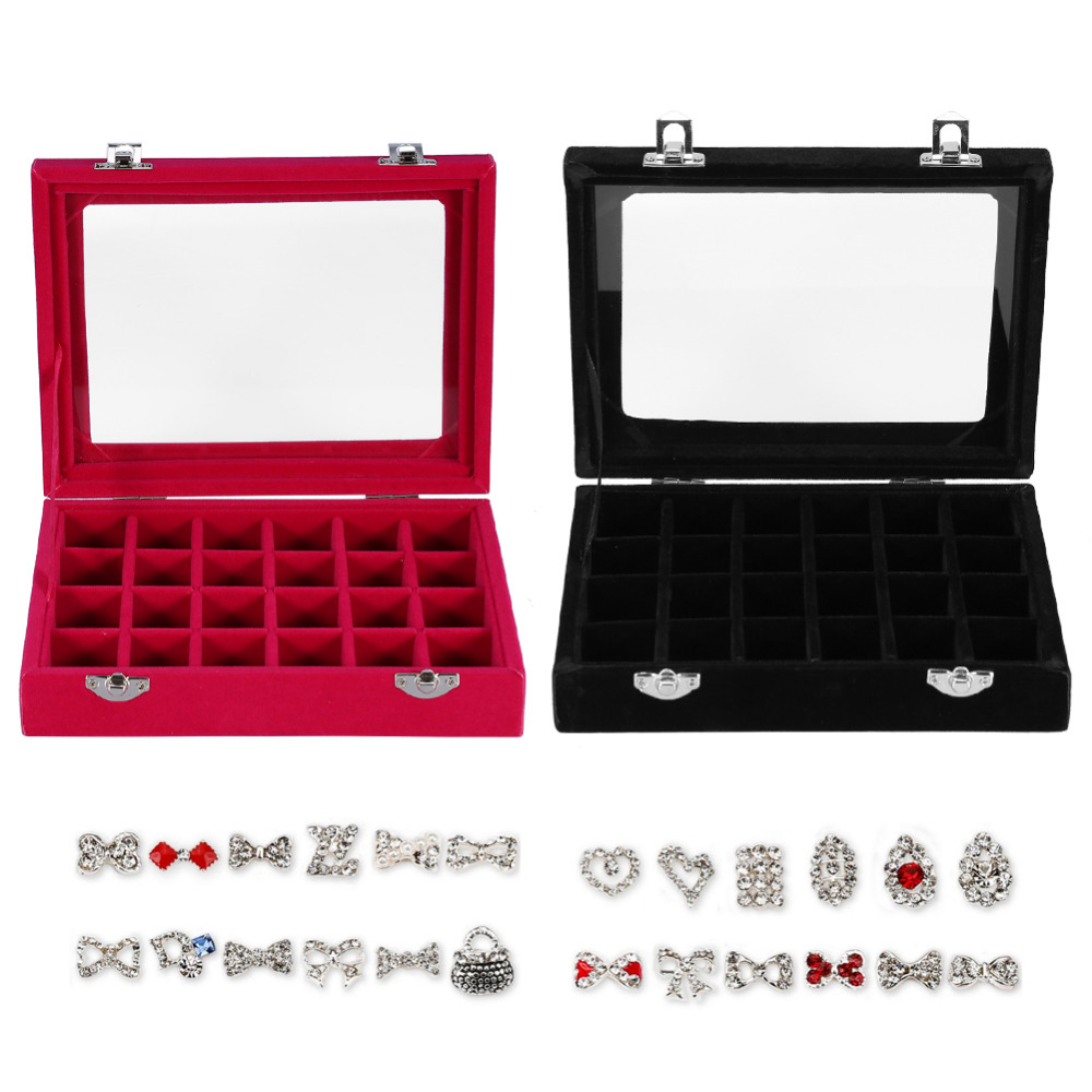 24 Grids Velvet Jewelry Box Rings Earrings Necklaces Makeup Holder Case Organizer Women Jewelery Storage Case