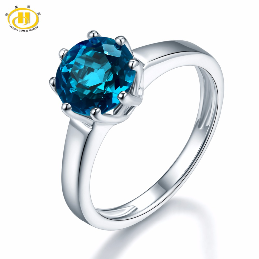 Hutang 2.73ct Natural London Blue Topaz Rings 925 Sterling Silver Ring Fine Gemstone Jewelry Classic Design for Women Gift New