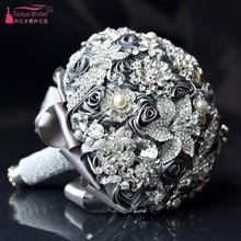 Sliver Grey Crystal Wedding Bouquets ramos de novia Bouquet De Mariage wedding accessories bride bouquet D635