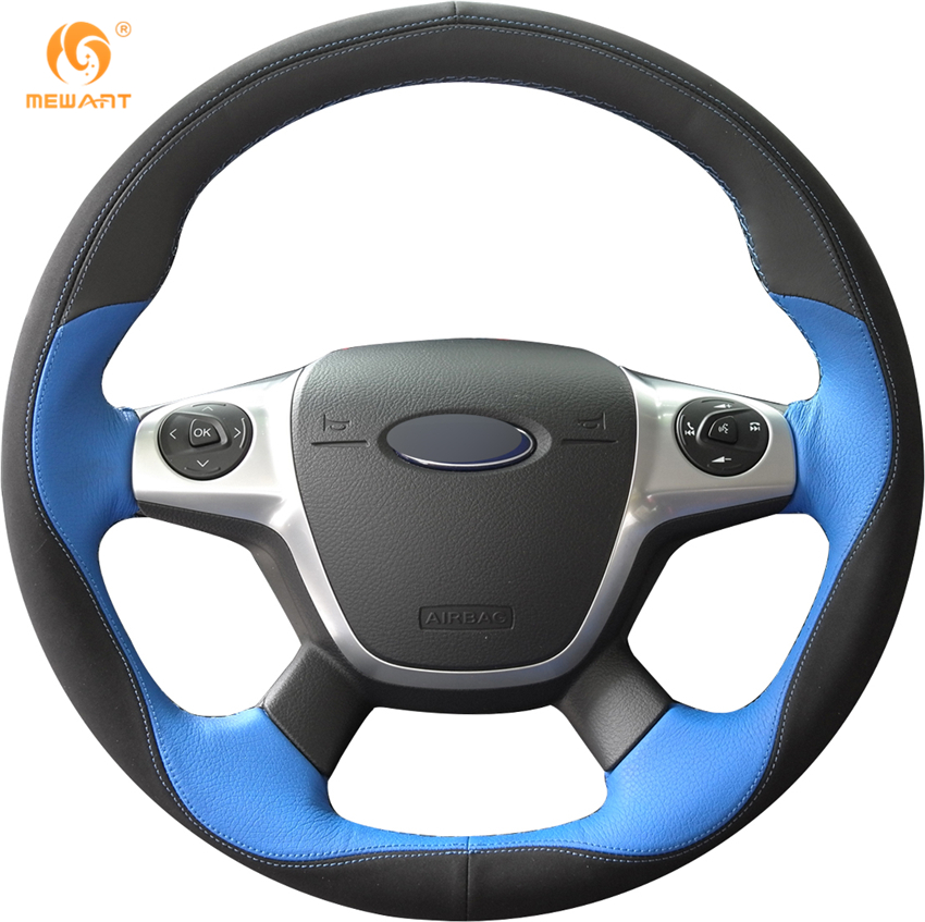 MEWANT Black Blue Leather Black Suede Car Steering Wheel Cover for Ford Focus 3 2012-2014 KUGA Escape 2013-2016 C-MAX 2011-2014 bbq fuka rear trunk shade cargo cover fit for 2011 2013 ford edge black