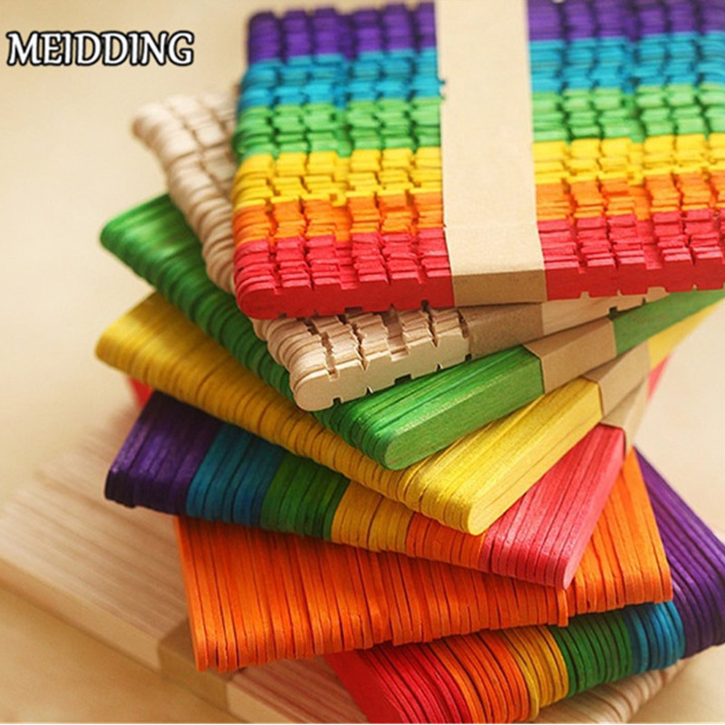MEIDDING-50pcs/lot Wooden Popsicle Stick Kids Hand Crafts DIY Making Kid Gift Ice Cream Stick