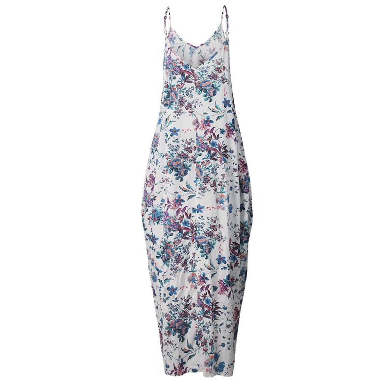 Print Floral Loose Boho Bohemian Beach Dress Women Sexy Strap V-Neck Retro Vintage Long Maxi Dress Summer 2017 Plus Size 3XL 10