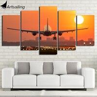 HD Impreso 5 Unidades Lienzo Arte Avión Sunset Lienzo Pintura de Pared Cuadros para la Sala de estar Decoración Envío Gratis CU-2688C