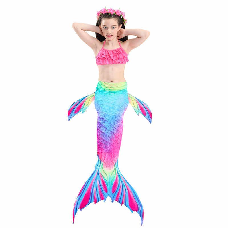 Kızlar 3 Parça Bikini Set Denizkızı Kuyruğu mayo Çocuk Giyim Bölünmüş Mayo Giyim Yaz Beachwear Mayo