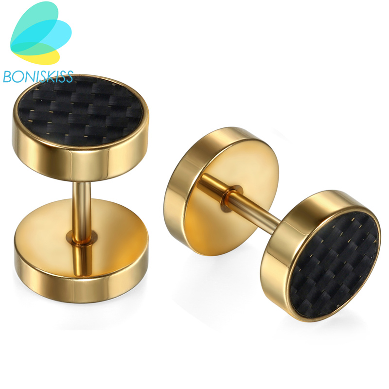 Boniskiss Men Earrings Stainless Steel Gold Stud Earrings Round Carbon Women Earrings Unisex Jewelry Pendientes Brincos