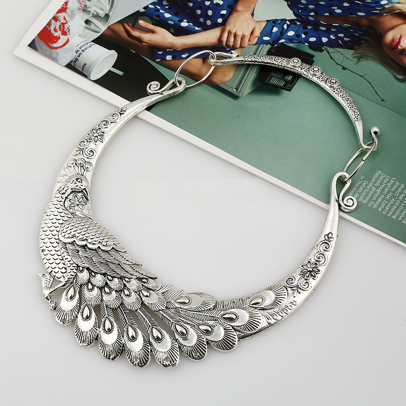 LOVBEAFAS 17 Fashion Ethnic Bohemian Choker Necklace Vintage Peacock Chinese Element Maxi Necklace Statement Collar Necklace 4
