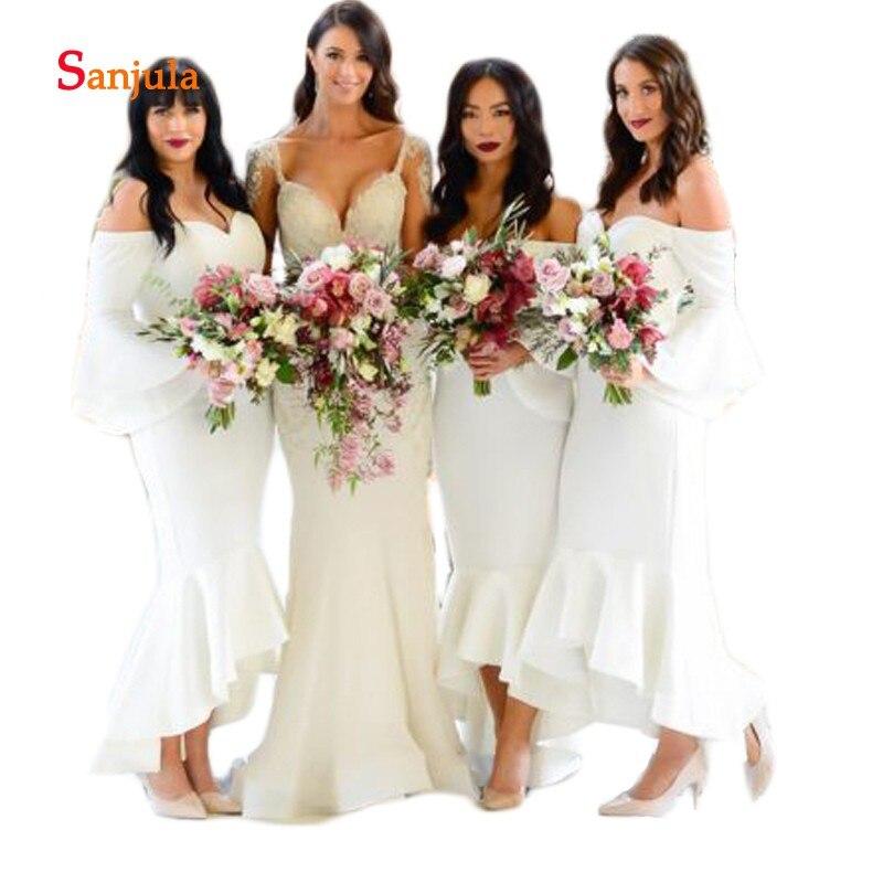 dfd40d87 Sweetheart blanco Jersey vestidos de dama de honor 2019 recién sirena  vestidos de fiesta formales ...