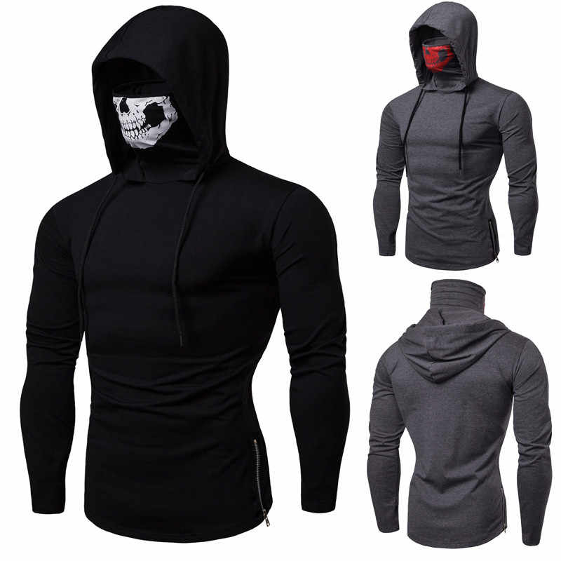 新メンズストレッチ男性の忍者制服フード付き長袖 Tシャツデューティ頭蓋骨マスク高品質長袖
