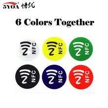 6 개/몫 NFC 태그 스티커 NFC213 라벨 Rfid 태그 카드 접착 키 태그 llaveros llavero Token Patrol
