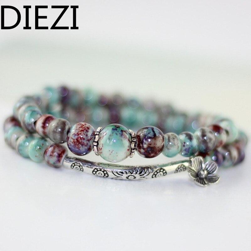 DIEZI Jewelry Drop Shipping Women Bracelets Flower Charm Cer
