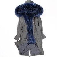 יוקרה הפרווה Parka נשים חורף מעיל ארוך חם מעיל מעיילי נדל דביבון פרווה פרווה דביבון אמיתי מעיל Hoody בטנה LF4213