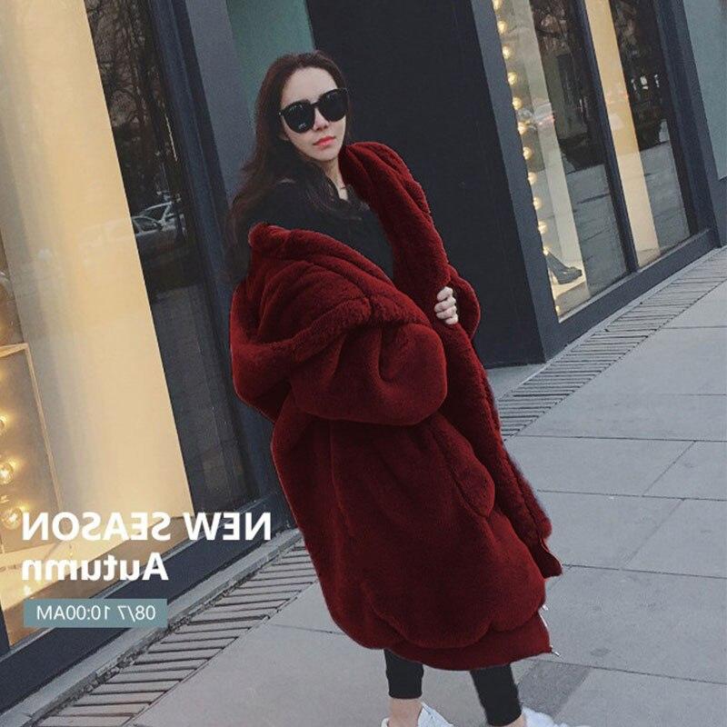 Oversized Winter Faux Fur Coat Women Parka Long Warm Faux Fur Jacket Coats Hoodies Loose Winter Coat Outwear casaco feminino