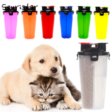 2 in 1 Pet Portable Outdoor Travel Dual Use Food Water Dog Bottle  Cat Puppy Feeder Drinking Bowl Waterer Supplies