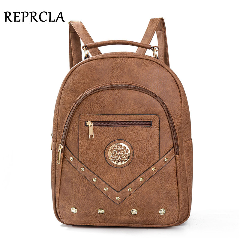 REPRCLA 2018 Large Women Backpack Vintage PU Leather School Bags for Teenage Girls High Quality Shoulder Bag Female Bagpack kawaii cinnamoroll dog japanese anime pu backpack schoolbag primary school bags teenage girls female school shoulder bag bagpack