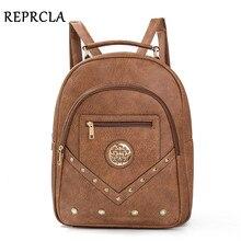 REPRCLA 2018 Large Women Backpack Vintage PU Leather School Bags for Teenage Girls High Quality Shoulder Bag Female Bagpack