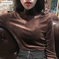 SLA Brand 2017 Slim VIntage Embroidery Solid Turtleneck T Shirt Full Korean Style Autum Winter Spring