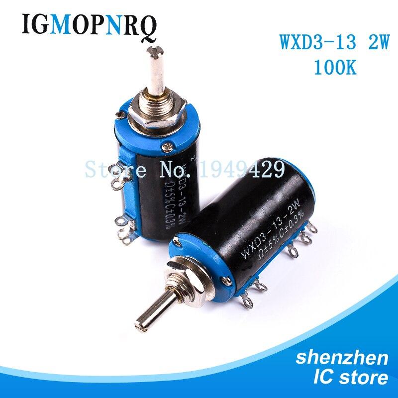 2 шт./лот WXD3-13-2W вал Dia 100K Ohm вращающийся боковой многооборотный потенциометр