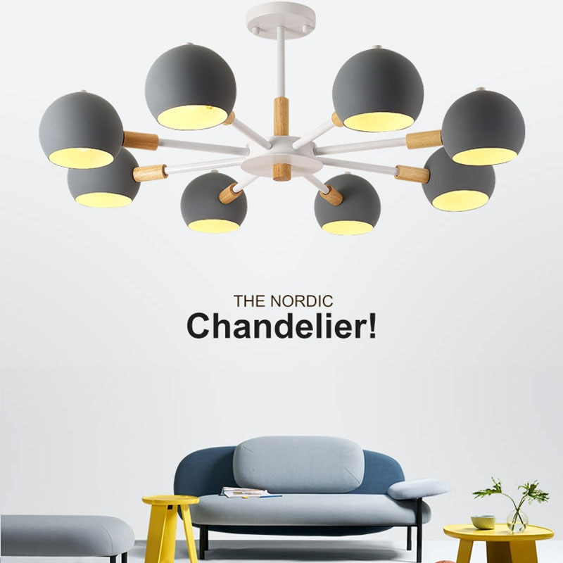 Nordic Style Solid Wood Lamps Modern Minimalist E27 Led Chandelier For Living Room Dining Room Restaurant Bedroom Study