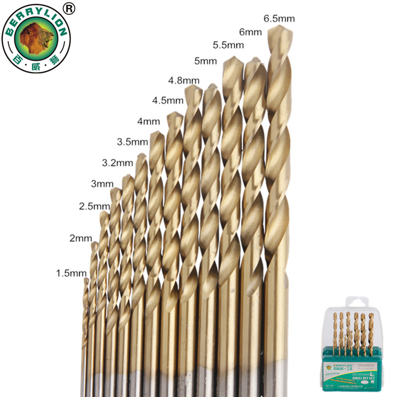 BERRYLION 13 Pcs Twist Drill Bit Set 1.5-6.5mm HSS High Speed Steel M2 Wood Metal Drill Bits Woodworking Power Tools yalku twist drill bit set power tool set twist drill bits tool kit hss twist drill bit set metal repair tools high speed steel