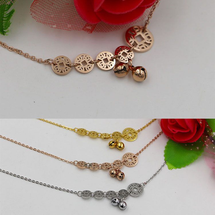 High quality fashion Lucky coins bells Anklet bracelet female Titanium plated rose gold color lucky Anklet multi do not fade