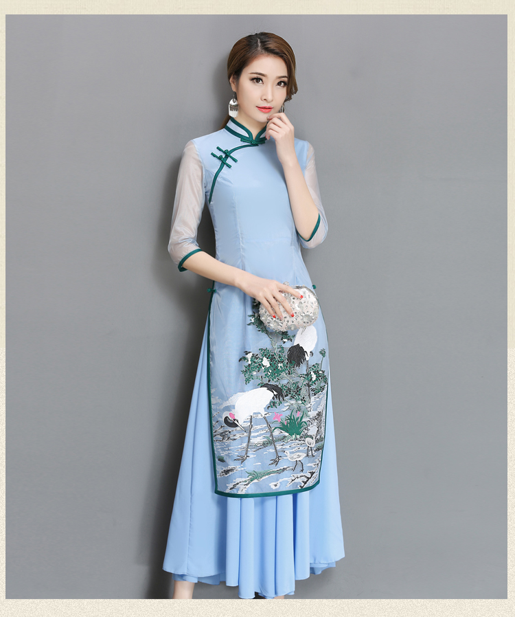 2018 Spring And Summer With A New Lady Temperament Mesh Sleeve Dress Cheongsam Women's Fake Two-piece  Big Size S-3xl