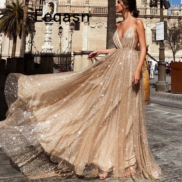 Luxury Champagne Gold Evening Dress 2019 Long Sparkly Sequins Elegant  Spaghetti Straps Prom Party Gown Robe De Soiree Longue 22a86a044cfb