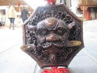 11 Китай Народная классическая красная бронза избежать зло Foo Dog голова льва дверной молоток