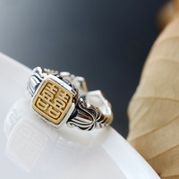 Happy character Thai silver ring restoring ancient ways Opening bank female ring Allergy 925 sterling silver ring women's ring
