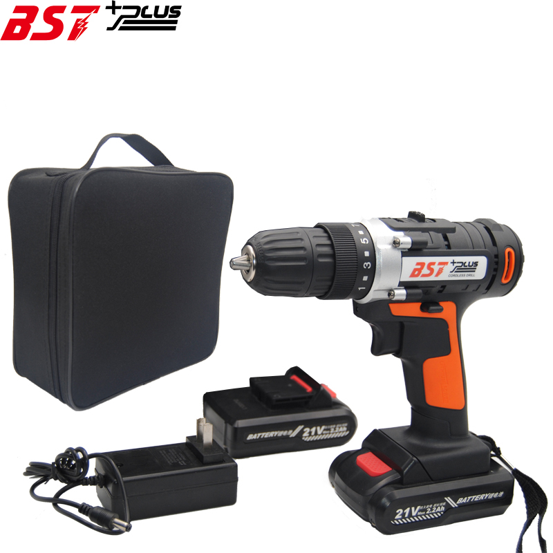 BST+PLUS(seven style) 21V LITHIUM BATTERY 2 SPEED CORDLESS DRILL MINI DRILL HAND TOOLS ELECTRIC DRILL POWER TOOLS SCREWDRIVER professional 24v double speed lithium battery cordless drill power tools mini drill electric drill with 2 year warrantly