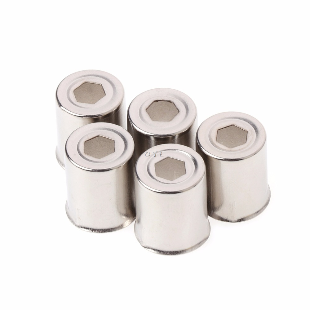 5Pcs/Set Diameter 14.5mm Steel Cap Microwave Oven Replacement Round Hole Magnetron Silver Tone
