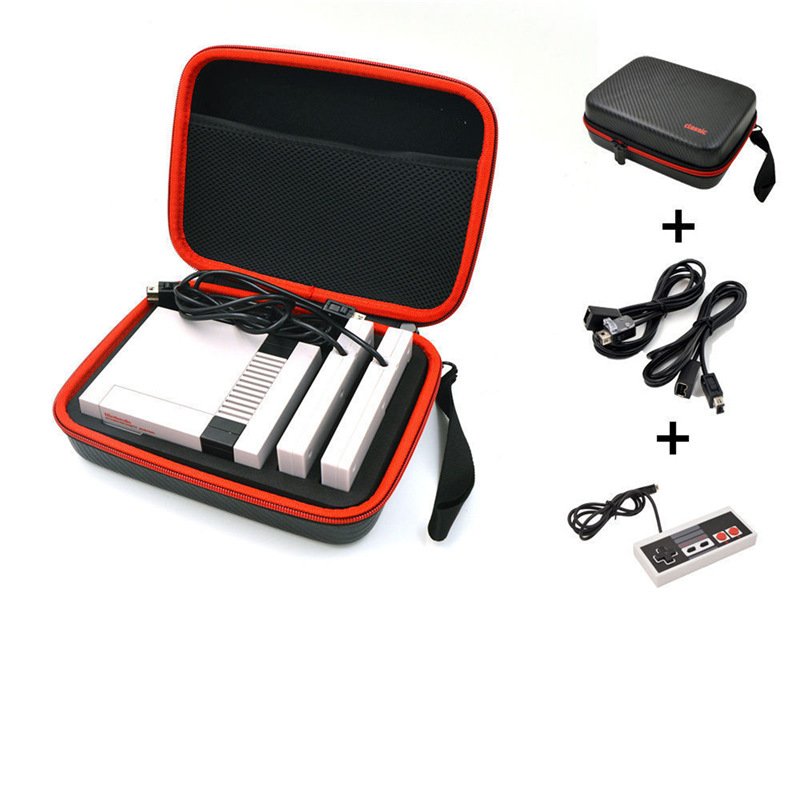 Balck Hard Carrying Case Travel Storage Bag + 2x 1.8m Extension Cables + Controller For NES Mini Classic Edition Console