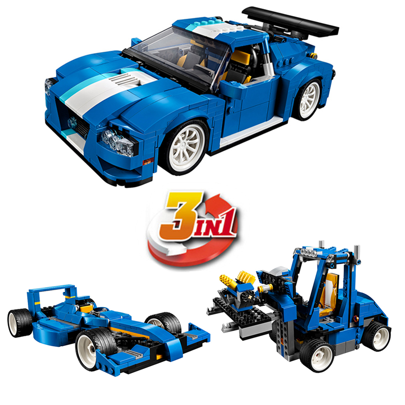 DECOOL 3119 City Creator 3 in 1 Turbo Track Racer Building Blocks Sets Kits Bricks Classic Model Kids Toys Compatible Legoings lepin city creator 3 in 1 corner deli building blocks bricks kids classic model toys for children marvel compatible