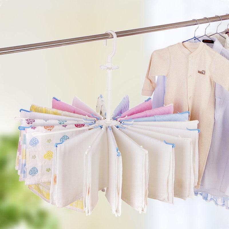 1PC-Towel-Hanger-Umbrella-Plastic-Drying-Rack-For-Underwear-Wardrobe-Accessories-20-Clip-Rotate-The-Windbreak