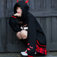 Kawaii Spooky Cats Print Horn Hoodies Sweatshirt Women Long Sleeve Hoody Sweatshirts For Girls 2019 Auumn Winter Female Top