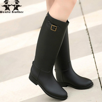 wenjie brother hot rubber rain shoes Knee high Rain Boots Buckle PU Waterproof Motorcycle lady long rain boots Woman rainy Shoes
