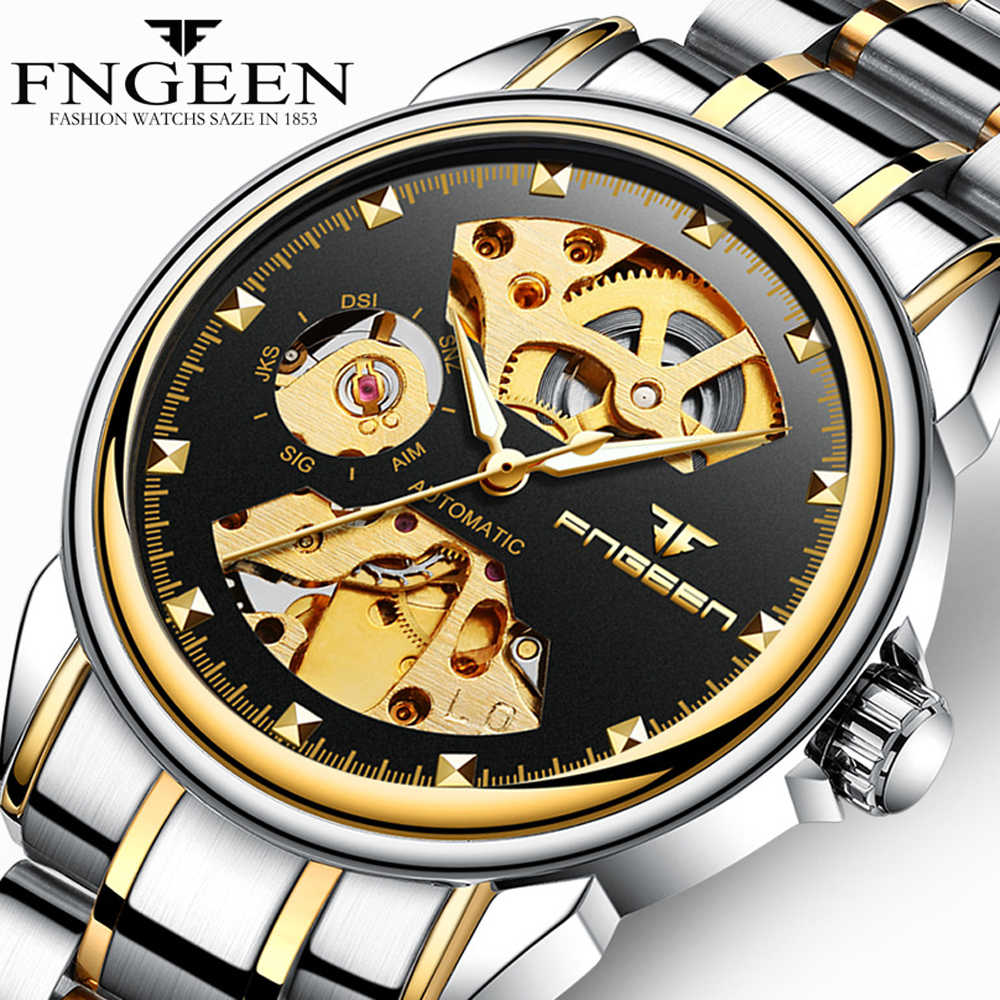 a644dff58 Fngeen Wrist Watch Men Steel Waterproof Self Wind Automatic Mechanical  Watches Skeleton Men's Watch Hollow Tourbillon