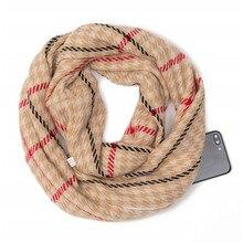 2019 winter classical Plaid warm Travel Infinity scarf with Hidden Pocket Cashmere Scarves Female Shawls Pashmina Lady blanket недорого