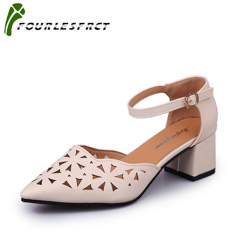 Size 35-40 Hot 2017 Women Pumps Shallow Color Block Thick High Heels Shoes Black White Pink Working Shoes Woman pointed toe shoe
